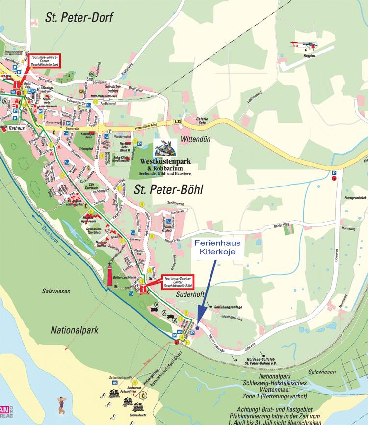 Die Lage der Kiterkoje in St. Peter-Ording